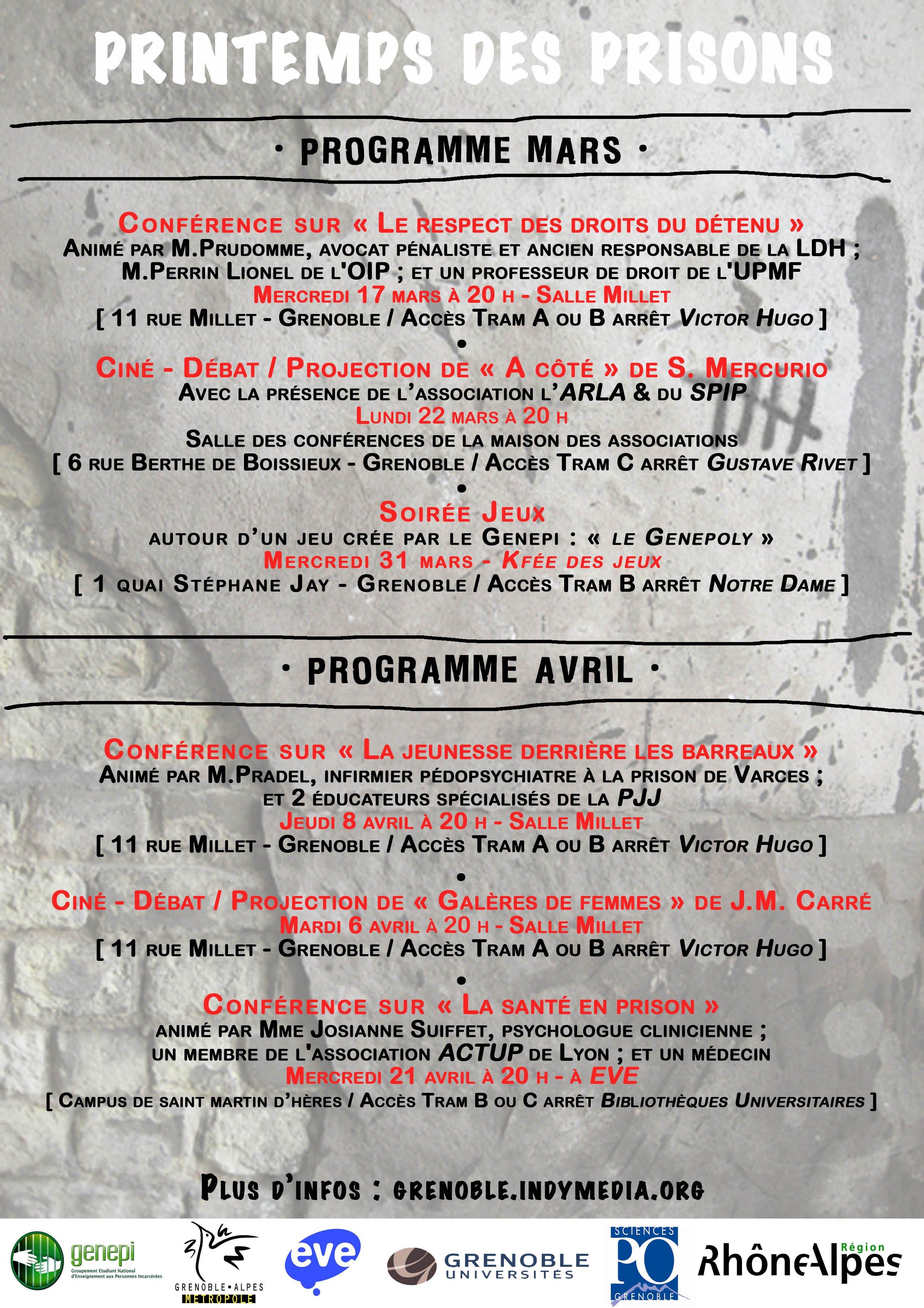 programme du Printemps des prisons à Grenoble
